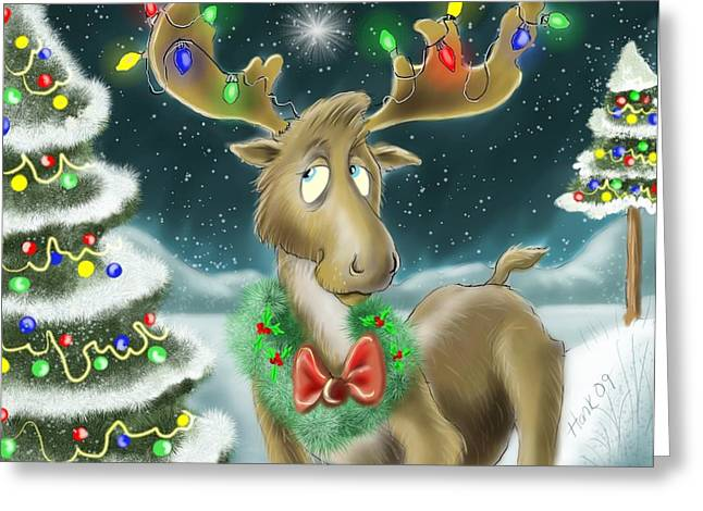 Christmas Art Greeting Cards - Christmas Moose Greeting Card by Hank Nunes