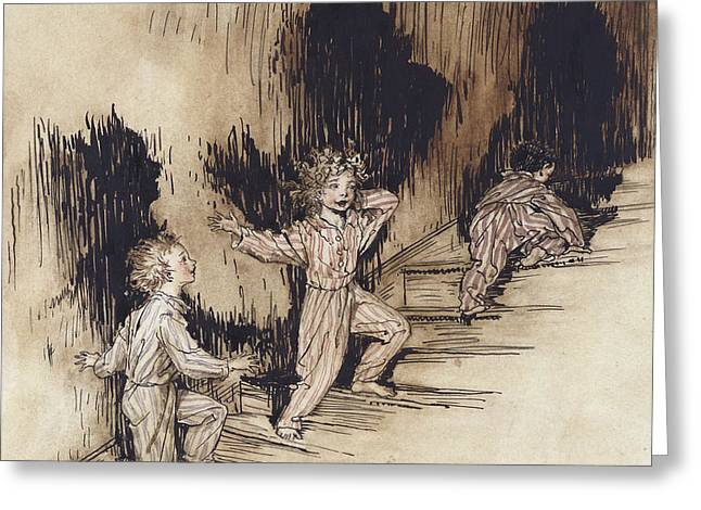 Signed Drawings Greeting Cards - Christmas Night Greeting Card by Arthur Rackham
