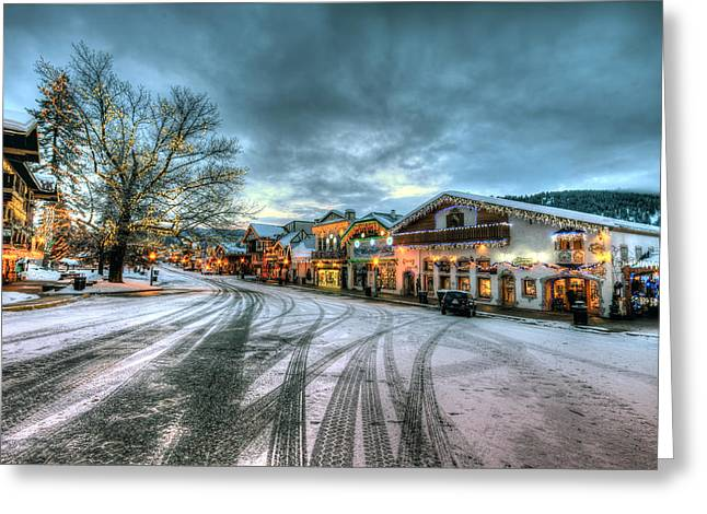 Christmas on Main Street Greeting Card by Brad Granger
