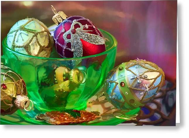 Christmas Ornaments Greeting Card by June Marie Sobrito