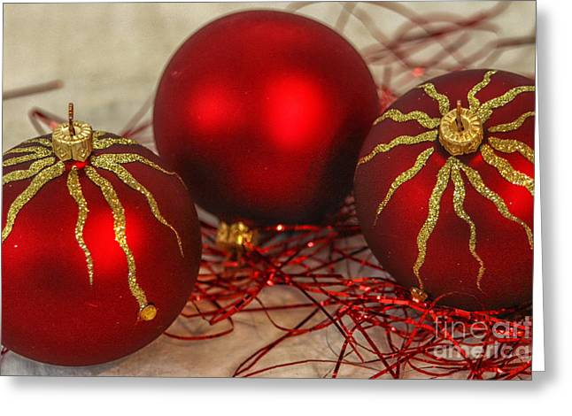 Christmas Ornaments Greeting Card by Patricia Hofmeester