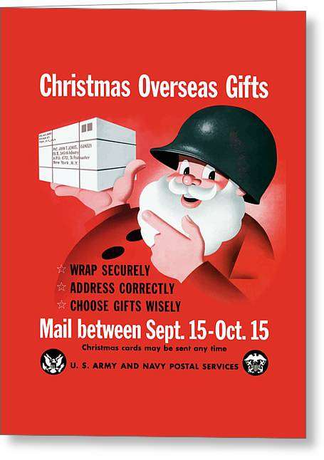 Santa Claus Greeting Cards - Christmas Overseas Gifts -- WW2 Greeting Card by War Is Hell Store