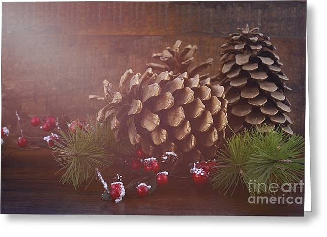 Christmas Eve Greeting Cards - Christmas Pine Cones Decorations Greeting Card by Milleflore Images