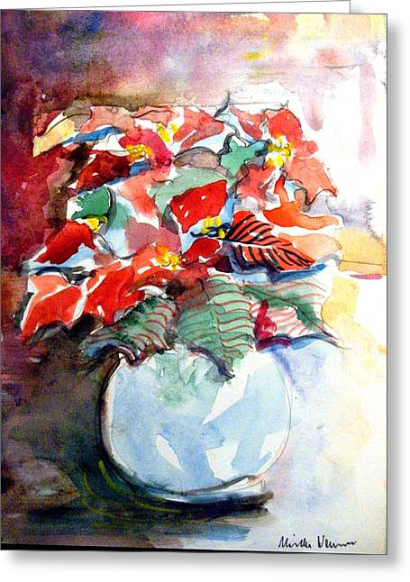 Christmas Poinsettia Greeting Card by Mindy Newman
