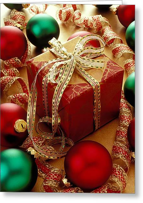 Ribbon Greeting Cards - Christmas present and ornaments Greeting Card by Garry Gay