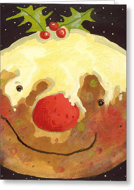 Smiling Paintings Greeting Cards - Christmas Pudding  Greeting Card by David Cooke