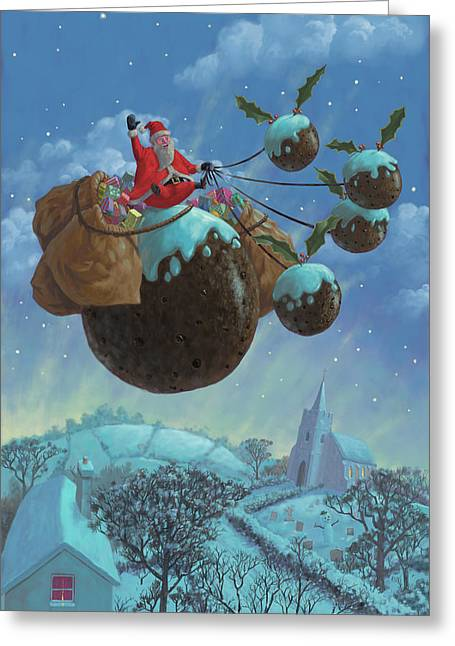 Snowy Night Greeting Cards - Christmas Pudding Santa Ride Greeting Card by Martin Davey
