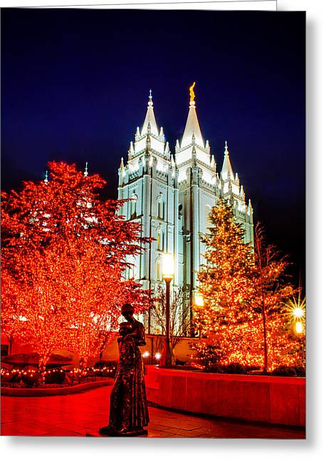 Utah Temple Photography Greeting Cards - Christmas Red Mother Greeting Card by La Rae  Roberts