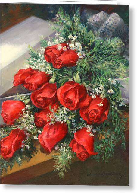 Bouquet Of Roses Greeting Cards - Christmas Red Roses Greeting Card by Laurie Hein