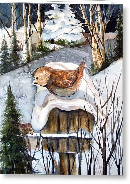 Winter Night Drawings Greeting Cards - Christmas Roof Greeting Card by Mindy Newman