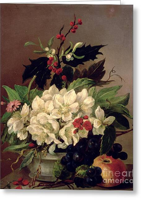 Xmas Paintings Greeting Cards - Christmas Roses Greeting Card by Willem van Leen
