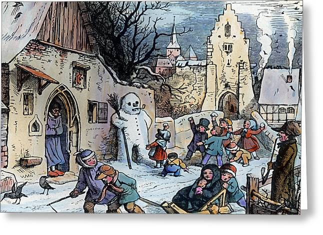 Christmas Scene Greeting Card by German School