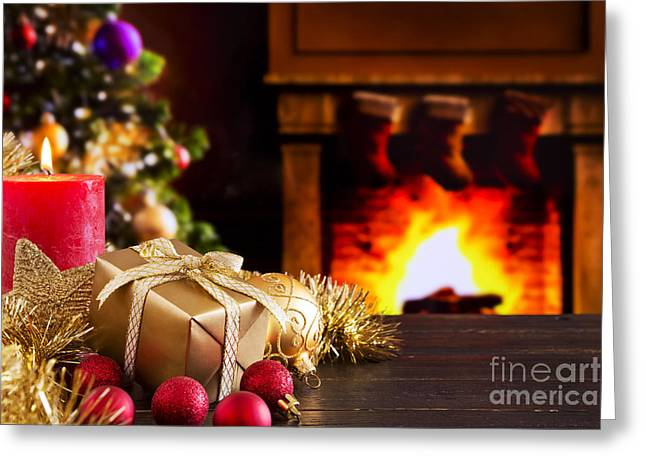 Candle Lit Greeting Cards - Christmas scene with fireplace and Christmas tree Greeting Card by Sara Winter
