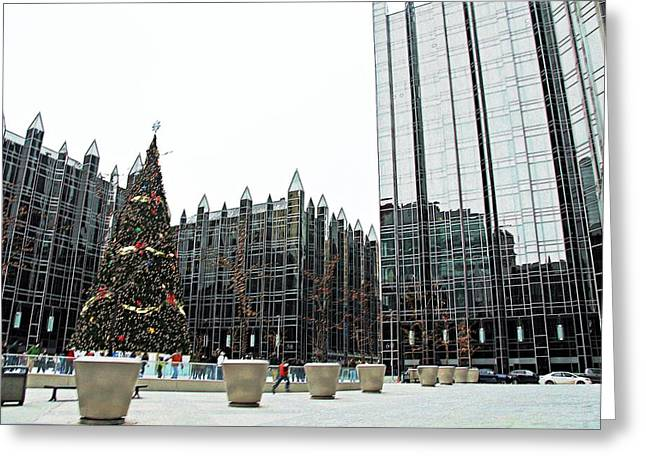 Pnc Park Digital Art Greeting Cards - Christmas Skating Greeting Card by Melinda Dominico