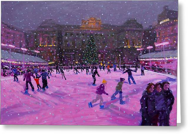 Ice-skating Greeting Cards - Christmas skating Somerset House with pink lights Greeting Card by Andrew Macara