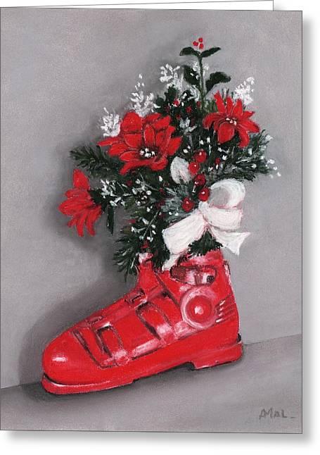 Boots Pastels Greeting Cards - Christmas Ski Boot Greeting Card by Anastasiya Malakhova