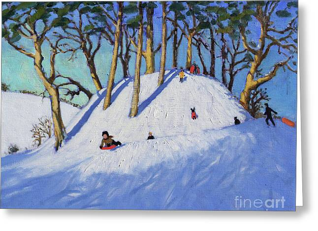 Christmas Sledging  Greeting Card by Andrew Macara