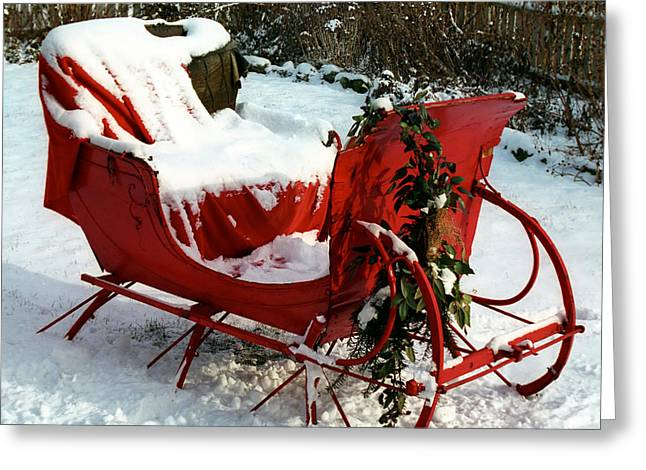 Christmas Sleigh Greeting Card by Andrew Fare