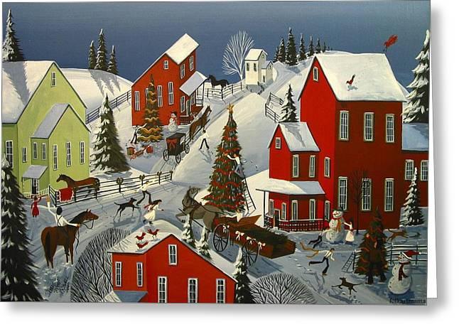 Christmas Art Greeting Cards - Christmas Spirit - a folkartmama original - folk art Greeting Card by Debbie Criswell