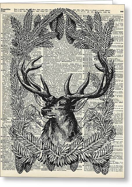 Pine Cones Greeting Cards - Christmas Stag Greeting Card by Jacob Kuch