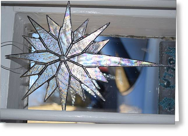 Christmas Glass Art Greeting Cards - Christmas Star Greeting Card by Rosalind Duffy