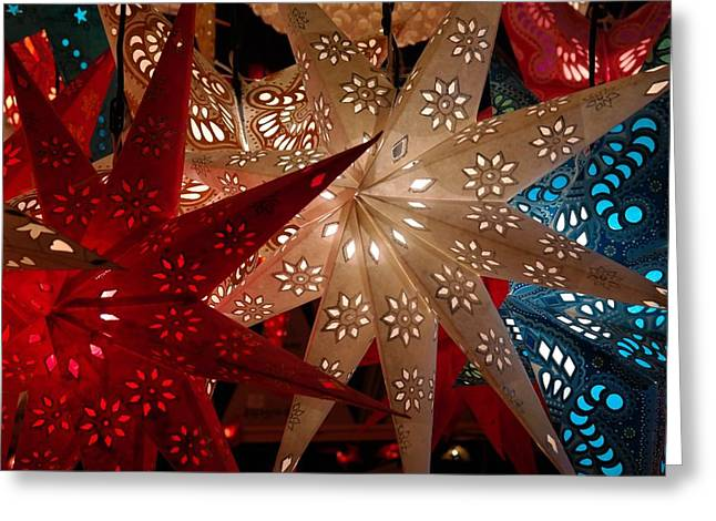 Christmas Stars Lit Greeting Card by Cco
