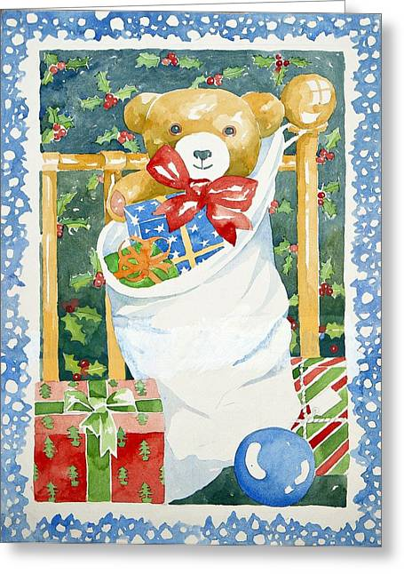 Bear Drawings Greeting Cards - Christmas stocking Greeting Card by Jennifer Abbot