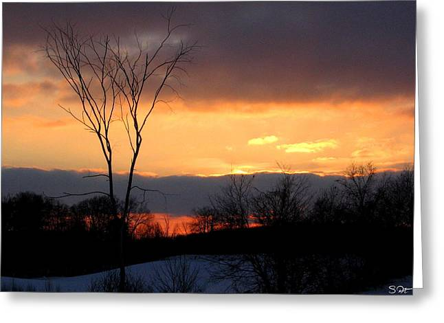 Snowy Day Greeting Cards - Christmas Sunset Greeting Card by Stephen  Killeen