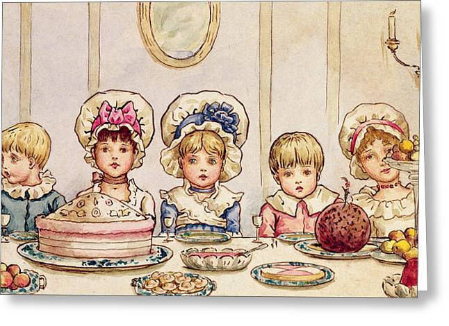 Christmas Supper Greeting Card by Kate Greenaway
