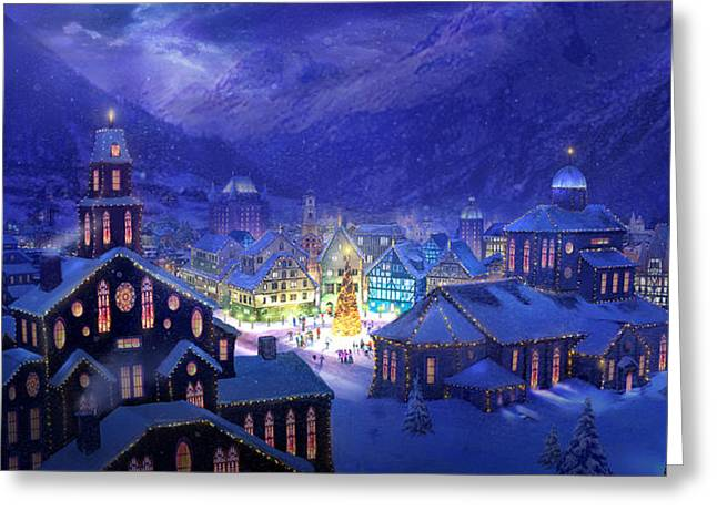 Glowing Mixed Media Greeting Cards - Christmas Town Greeting Card by Philip Straub