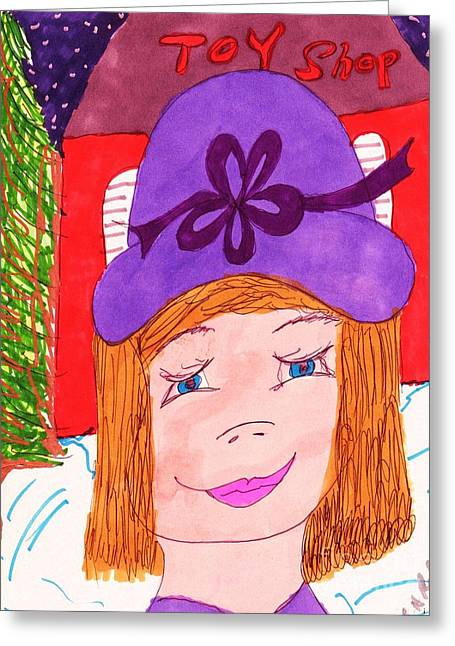 Store Fronts Mixed Media Greeting Cards - Christmas Toy Shopping Greeting Card by Elinor Rakowski