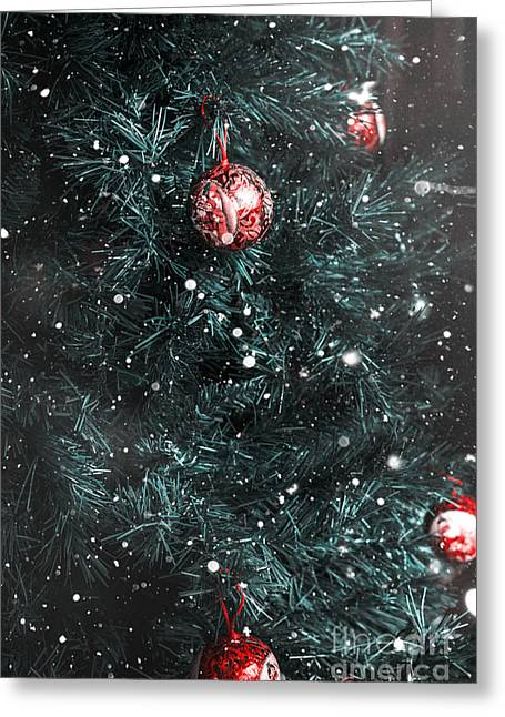 Snowy Night Greeting Cards - Christmas tree in winter snow. Card background Greeting Card by Ryan Jorgensen