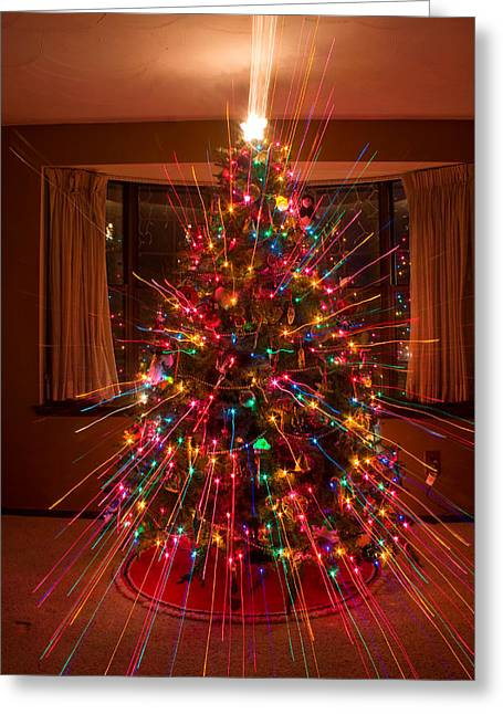 Christmas Tree Light Spikes Colorful Abstract Greeting Card by James BO  Insogna