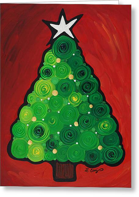 Crimson Greeting Cards - Christmas Tree Twinkle Greeting Card by Sharon Cummings