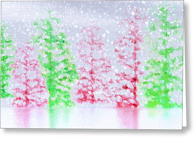 Christmas Trees In Snow Greeting Card by Steve Ohlsen