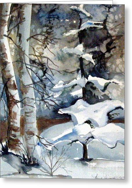 Winter Night Drawings Greeting Cards - Christmas Trees Greeting Card by Mindy Newman