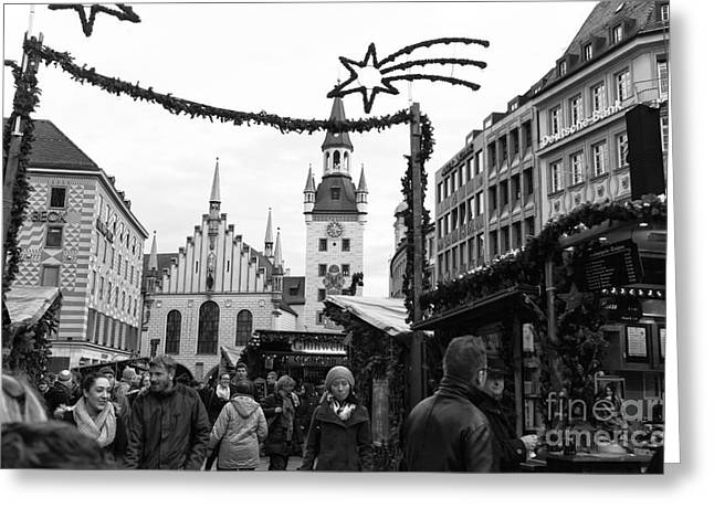 Christmas Market Greeting Cards - Christmas Walk in Munich Greeting Card by John Rizzuto