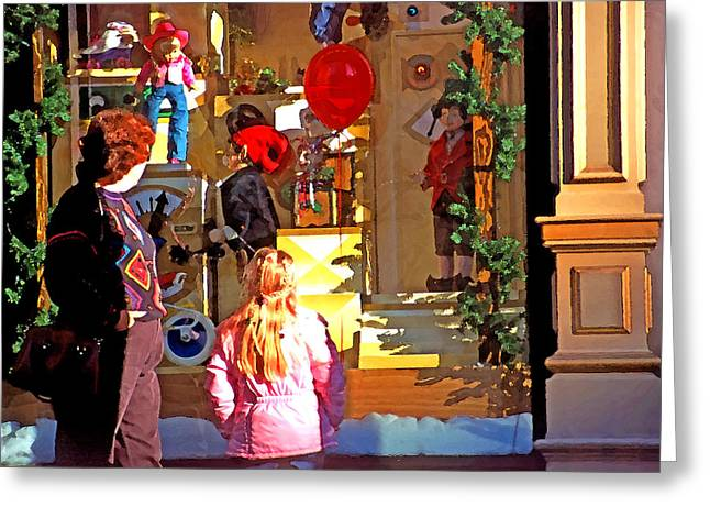 Helium Greeting Cards - Christmas Window Display 1 Greeting Card by Steve Ohlsen