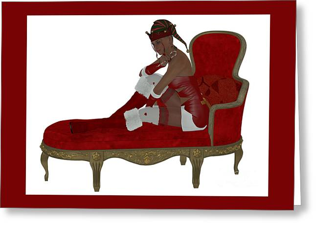 Christmas Woman On Couch Greeting Card by Corey Ford