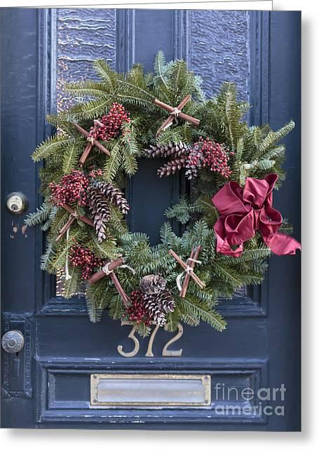 Christmas Wreath Greeting Card by Edward Fielding