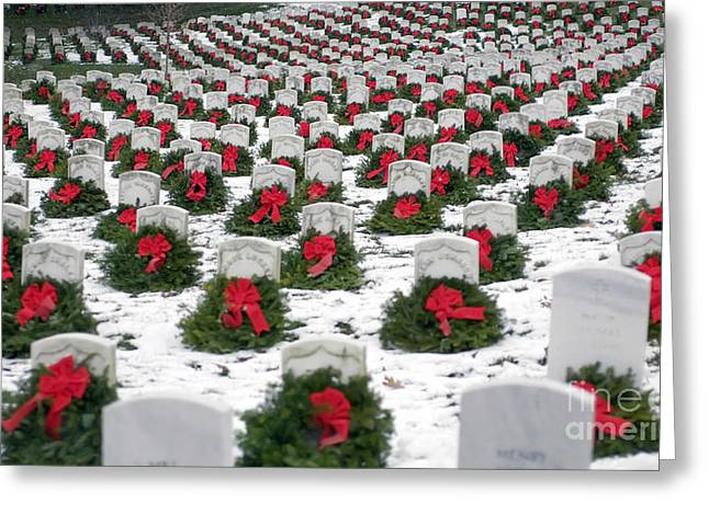 Headstones Greeting Cards - Christmas Wreaths Adorn Headstones Greeting Card by Stocktrek Images