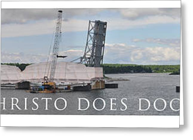 Cloth Greeting Cards - Christo Does Door County Greeting Card by Tim Nyberg