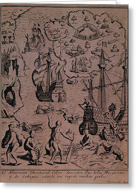 Treasures Drawings Greeting Cards - Christopher Colombus discovering the islands of Margarita and Cubagua where they found many pearls Greeting Card by Spanish School