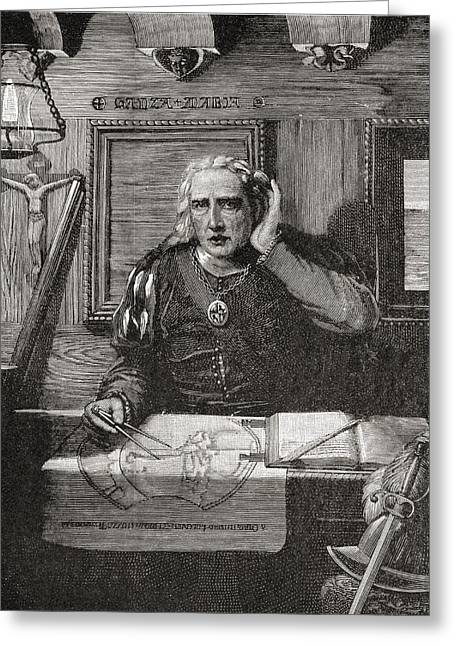 Christopher Drawings Greeting Cards - Christopher Columbus In His Cabin Hears Greeting Card by Vintage Design Pics