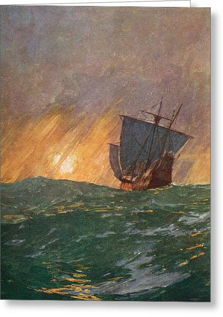 Christopher Drawings Greeting Cards - Christopher Columbus Sailing Westward Greeting Card by Vintage Design Pics