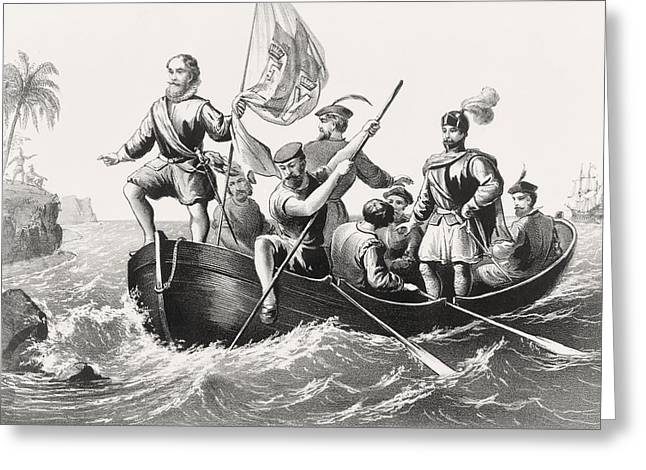 Christopher Drawings Greeting Cards - Christopher Columbus Setting Foot In Greeting Card by Vintage Design Pics
