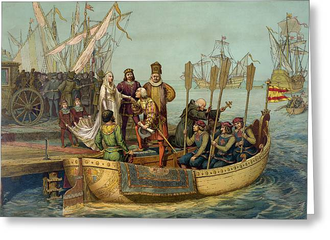 Voyage Drawings Greeting Cards - Christopher Columbus Taking Leave Greeting Card by American School