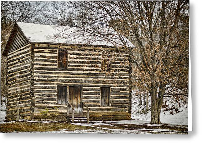 Vintage Log House Greeting Cards - Christopher Taylor House Greeting Card by Heather Applegate