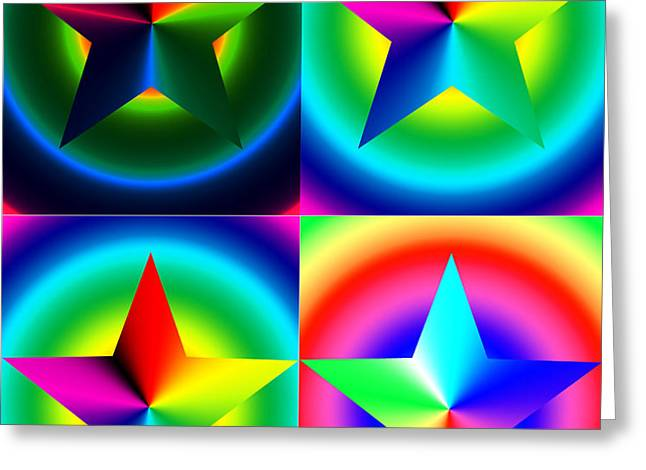 Chromatic Star Quartet with Ring Gradients Greeting Card by Eric Edelman