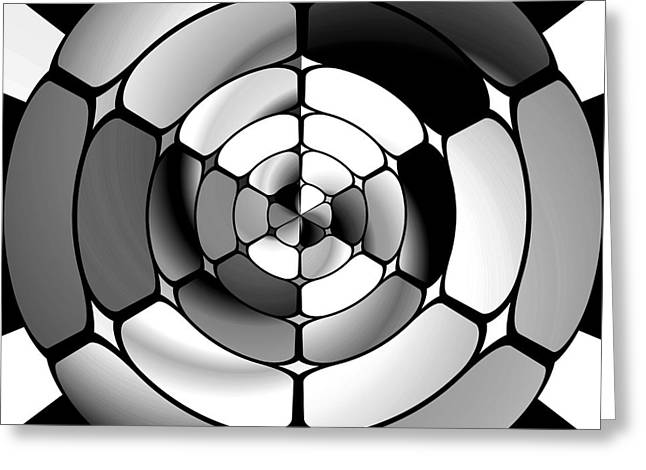 Algorithmic Abstract Greeting Cards - Chromed black and white Greeting Card by Gaspar Avila